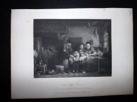 After David Wilkie C1870 Antique Print. The Cut Finger